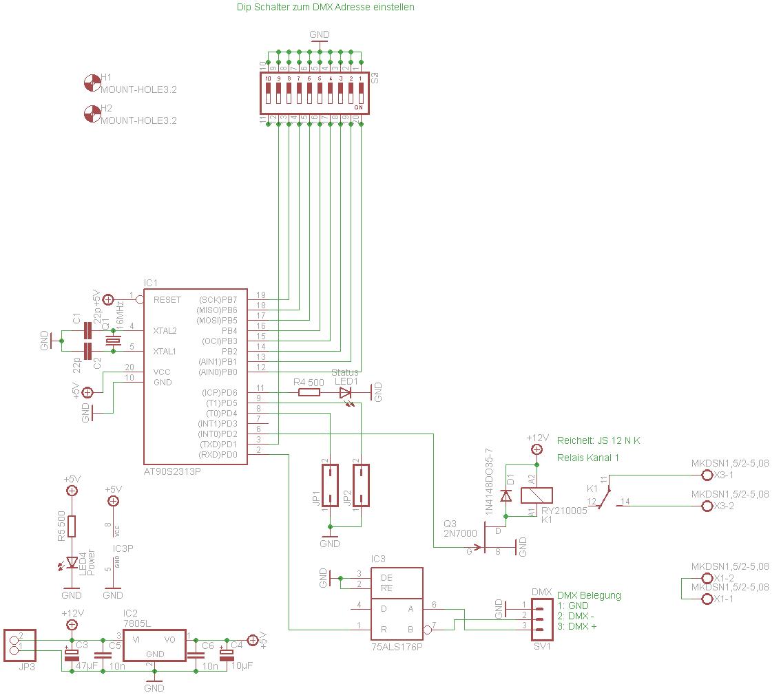 DMX-Relaisplatine 1fach Schaltung